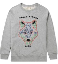 Maison Kitsune Grey Melange 3D Fox Crewneck Sweater Picutre
