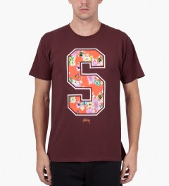 Stussy Dark Red S Flower T-Shirt Model Picutre