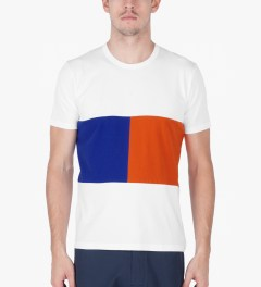 Aloye White/Blue/Orange Geometry #6 Color Blocked S/S T-Shirt Model Picutre