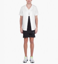 Stampd White Baseball Jersey Model Picutre