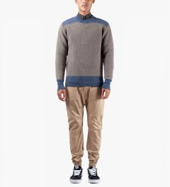 Garbstore Brown Chindit Crewneck Sweater Model Picutre
