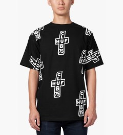 CLUB 75 HUF x Club 75 Black All-over T-Shirt Model Picutre
