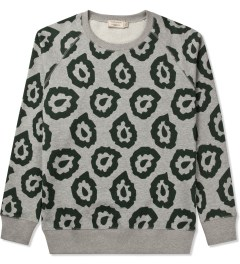 Maison Kitsune Grey Melange Marco Flame All Over R-neck Sweater Picutre
