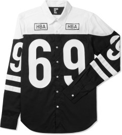 Hood By Air. White/Black Hockey Button Down Shirt Picutre