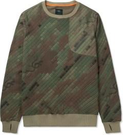 maharishi Olive Woodland Disruptive Asym Vent Crewneck Sweater Picutre