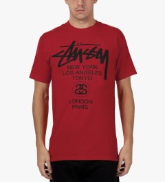 Stussy Brite Red World Tour T-Shirt Model Picutre