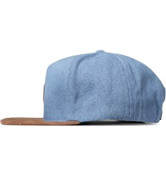 HUF Light Blue Denim Leather Snapback Cap Model Picutre