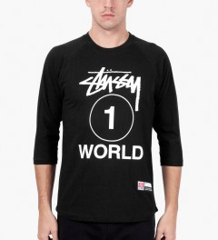 Stussy Black One World Baseball T-Shirt Model Picutre