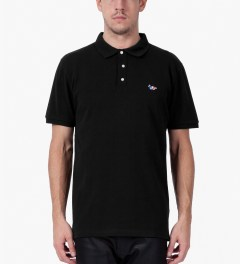 Maison Kitsune Black Tri-color Patch S/S Polo Shirt Model Picutre