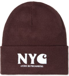 Carhartt WORK IN PROGRESS Elastance Bordeaux/White NYC Beanie Picutre