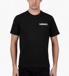 Carhartt WORK IN PROGRESS Jet/White S/S College Script T-Shirt Model Picutre