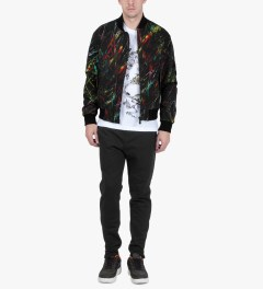 McQ by Alexander McQueen Black Scratched Printed MA-1 Jacket Model Picutre