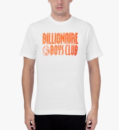 Billionaire Boys Club White/Golden Poppy S/S Straight Logo T-Shirt Model Picutre
