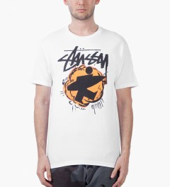 Stussy White Pop Surfman T-Shirt Model Picutre