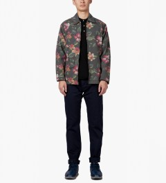 Stussy Black Vintage Flower Coach Jacket Model Picutre