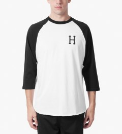 HUF White/Black Classic H Raglan T-Shirt Model Picutre