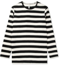 Munsoo Kwon Black Bold Striped Back Split L/S T-Shirt Picutre