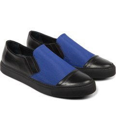 SILENT Damir Doma Vintage Black/Blue Sun Classic Slip-On Shoes Model Picutre