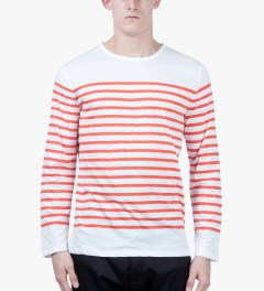 A.P.C. Red Long Sleeve Traditional Sailor T-Shirt Model Picutre
