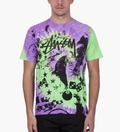 Stussy Purple Classic College Tie-dye T-Shirt Model Picutre