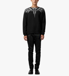 Marcelo Burlon Black/White Alas Agua Crewneck Sweater Model Picutre