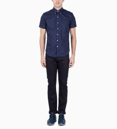 United Stock Dry Goods Navy Anchor Print S/S Button Down Shirt Model Picutre