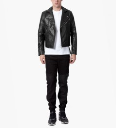 MKI BLACK Black High Grain Biker Jacket Model Picutre