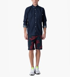 HUF Navy/Red Bamboo Easy Shorts Model Picutre