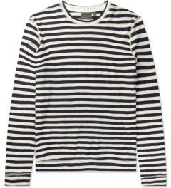 Naked & Famous Navy/Ivory Slim Crewneck Striped T-Shirt Picutre