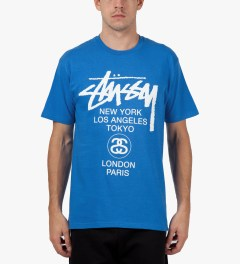 Stussy Brite Blue World Tour T-Shirt Model Picutre