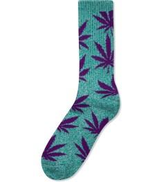 HUF Jade Heather/Purple Plantlife Crew Socks Picutre