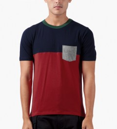 Band of Outsiders Navy/Red S/S Colorblock T-Shirt Model Picutre