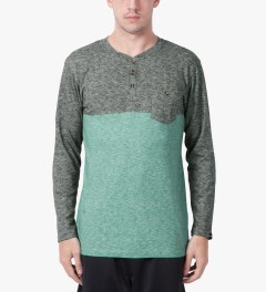 Jiberish Grey/Teal Split Henley L/S T-Shirt Model Picutre