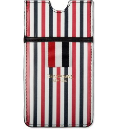 Thom Browne Blue/White Striped print Leather iPhone Case Picutre