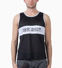 Mark McNairy Black/White One Shot Mesh Tank Model Picutre