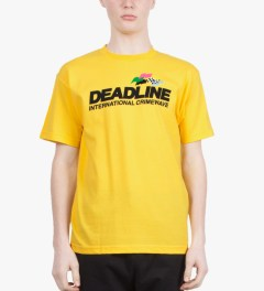 Deadline Yellow Crimewave T-Shirt Model Picutre