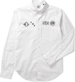 Mark McNairy White LS Monogram OCBD Shirt Picutre