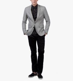 Shades of Grey by Micah Cohen Speckled Grey 2 button Blazer Model Picutre