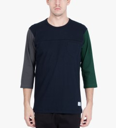 Liful Navy Colorblock Football T-Shirt Model Picutre