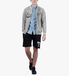 Stussy Heather Grey Sport Script Jacket Model Picutre