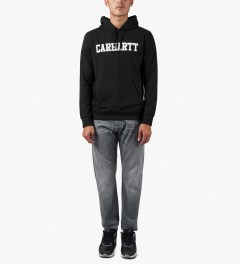 Carhartt WORK IN PROGRESS Black/White Hooded College Sweater Model Picutre