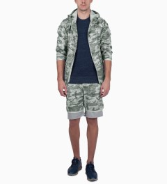 Reigning Champ Heather Grey RC-4019-2 Woven Camo Printed L/S Hooded Zip Jacket Model Picutre