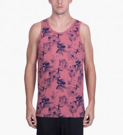 HUF Salmon/Navy Floral Tank Top Model Picutre