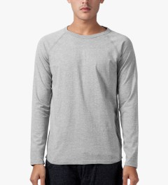 Reigning Champ Heather Grey Solid Jersey L/S Raglan T-Shirt Model Picutre