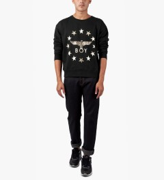 BOY London Black/Gold Boy Globe Star Crewneck Sweater Model Picutre