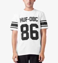 HUF White Wrecking Crew Football Jersey Model Picutre