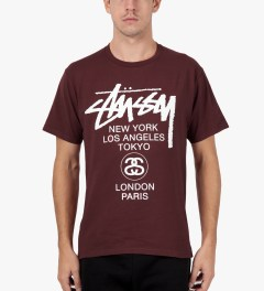 Stussy Dark Red World Tour T-Shirt Model Picutre