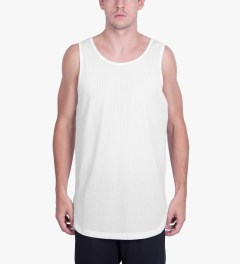 Publish White Zhane Jersey Mesh Oversized Length Tank Top Model Picutre
