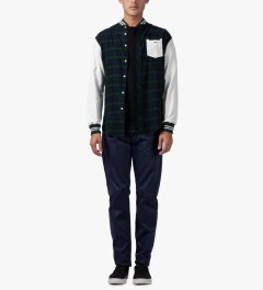 Munsoo Kwon Green/Navy Varsity Brushed Tartan Check Shirt Model Picutre