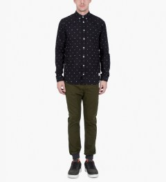 ZANEROBE Military Green Dynamo Chino Pants Model Picutre